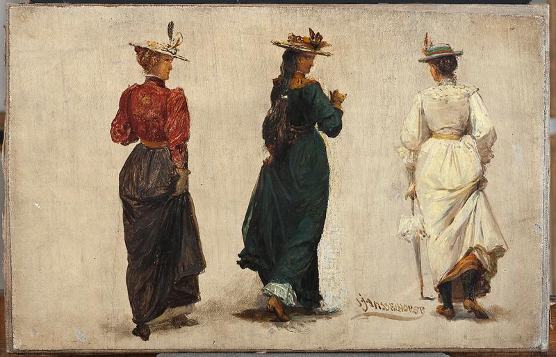 Johann Heinrich Hasselhorst, Drei schreitende Frauen in Rückenansicht, Frankfurt um 1900