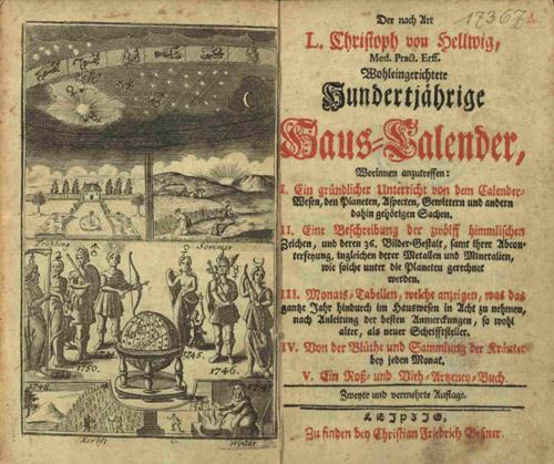 Bild - Die zweite und vermehrte Auflage des Hundertjährigen Kalenders, gedruckt in Leipzig (Quelle: Deutscher Wetterdienst)