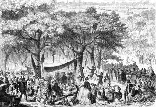 Bild - Der Wäldchestag in Frankfurt a. M., Holzstich nach einer Zeichnung von Carl Hohnbaum 1863 (Quelle: Institut für Stadtgeschichte Frankfurt am Main)
